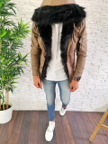 Geaca de iarna pentru barbati PREMIUM - BEJ - slim fit - A2684, L, M, S, XL, XXL