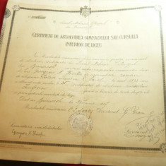 Diploma- Certificat Absolvire Gimnaziul la Liceul Mihai Viteazul 1907 Bucuresti