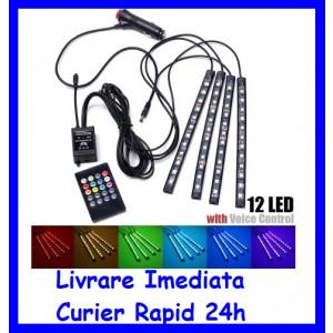 Kit Complet interior LED 4 x Benzi 12 SMD RGB cu telecomanda 22cm Senzor Vocal