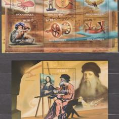 DB  Mozambic Arta Leonardo da Vinci Inventii Pictura MS  + SS MNH