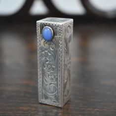 Ruj din Argint 800 cu piatra - oglinda - functional - 26,5 grame, Pudriera