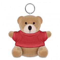 Breloc ursulet din plus cu tricou rosu
