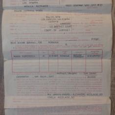 Declaratie pentru viza SUA// document TAROM, 1981