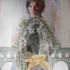 Gotică 2, acuarelă, semnat Edy Multhaler, Abstract, Acuarela, Altul