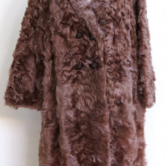 Mantou - haina blana naturala cu guler de nurca marimea L