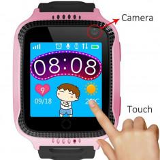 CEAS PENTRU COPII SMARTWATCH SmartWatch pentru copii cu GPS, camera foto, functie telefon, lanterna, touch screen, buton SOS, culoare Roz