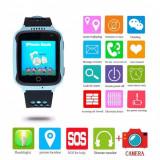 CEAS PENTRU COPII SMARTWATCH SmartWatch pentru copii cu GPS, camera foto, functie telefon, lanterna, touch screen, buton SOS, culoare Albastru