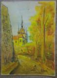 Peisaj de toamna cu cladire medievala// acuarela pe carton, Peisaje, Avangardism