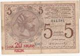 IUGOSLAVIA REGAT SERBIA CROATIA SLOVENIA 5 Dinara 1919 SUPRATIPAR 20 KRON F