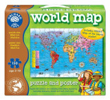 Puzzle Si Poster Harta Lumii (Limba Engleza 150 Piese) World Map Puzzle & Poster, orchard toys