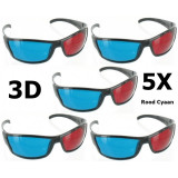Rosu Cyan Ochelari 3D Rama Neagra YOO038 Set 5 Bucăți