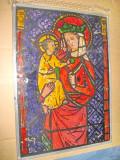 Aplica Sf. Maria cu Pruncul model vitraliu pictata pe sticla cu plumb lateral.