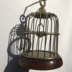 Colivie miniaturala,veche,olandeza,cu pasare