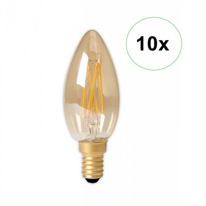 LED Filament E14 240V 3.5W 200lm B35, Gold 2100K D Set 10 Bucăți