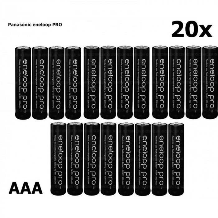 AAA R3 Panasonic Eneloop PRO Rechargeable Battery Set 20 Bucăți