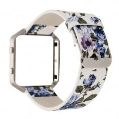 Brățară Floral din piele ecologică pentru Fitbit B Culoare Albastru