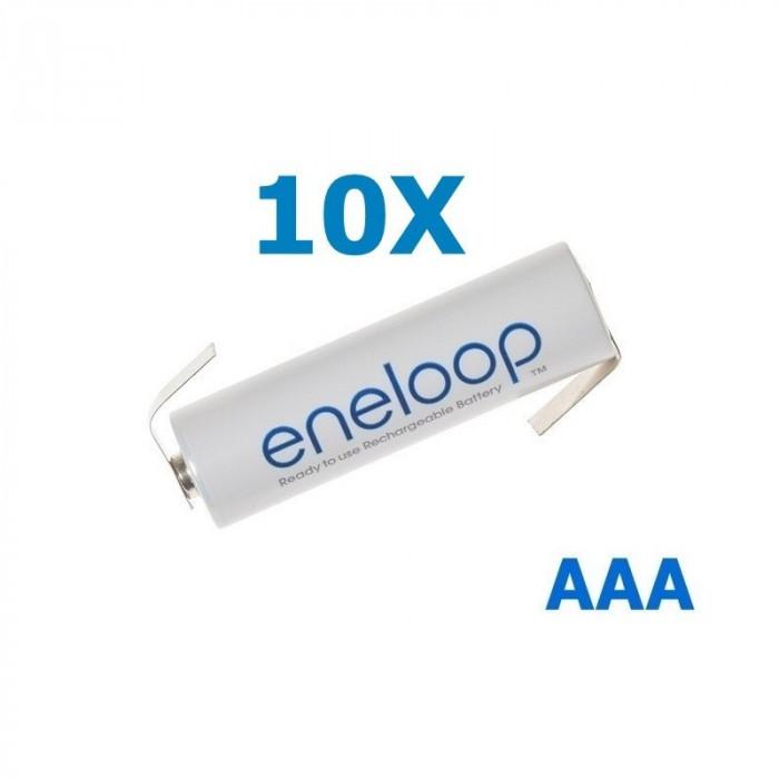 Panasonic Eneloop AAA R3 cu urechi de lipire Conţinutul pachetului 10 Bucăți, Tip Urechi de lip