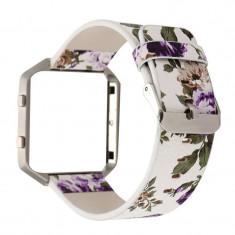 Brățară Floral din piele ecologică pentru Fitbit B Culoare Violet