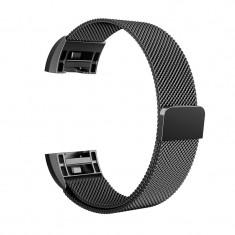 Bratara metalica pentru Fitbit Charge 2 cu inchide Culoare Negru, Mărime S (Small)