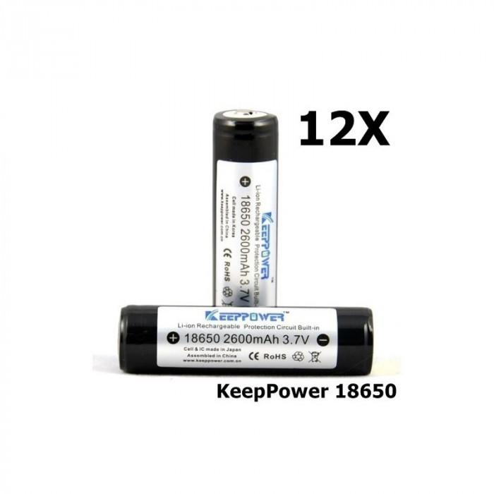 KeepPower 18650 2600mAh baterie reîncărcabilă Set 12 Bucăți