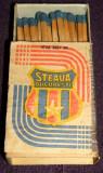 STEAUA, emblema clubului - cutie de chibrituri romanesti din lemn Bucuresti 1980