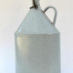 Bidon, butelca, plosca veche de apa pt armata din tabla emailata cu dop ceramic