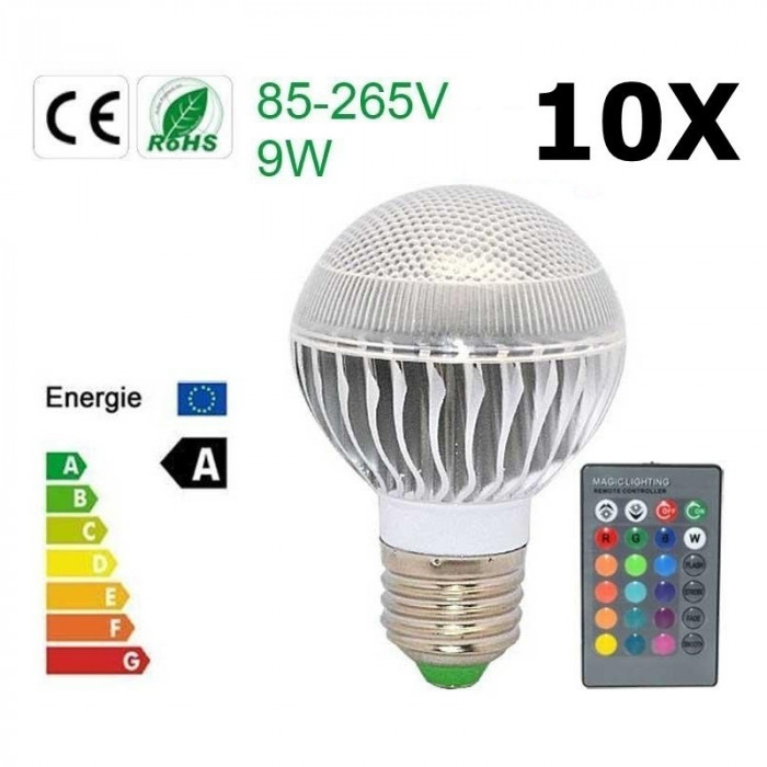 Oferta Bec LED 9W E27 RGB cu telecomanda CG007 Set 10 Bucăți