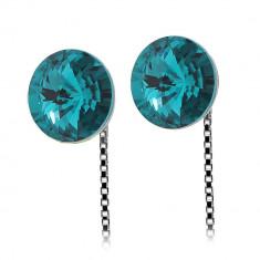 Neli - Cercei Argint si Cristale Swarovski - Blue Zircon, BijouxMAG