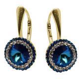 Supreme - Cercei Argint Placat cu Aur, Ceralun si Cristale Swarovski - Bermuda Blue, BijouxMAG
