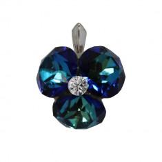 Octavia - Pandantiv Argint si Cristale Swarovski - Bermuda Blue, BijouxMAG