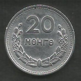 MONGOLIA  20  MONGO  1959  [3]   KM 26  ,   livrare in cartonas, Asia, Aluminiu