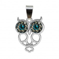 Cezarina - Pandantiv Argint Bufnita, Ceralunsi Cristale Swarovski , BijouxMAG
