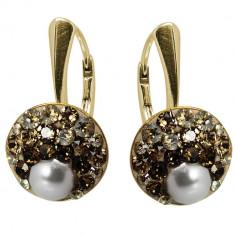 Rachel- Cercei Argint Placat cu Aur, Perle si Cristale Swarovski, BijouxMAG