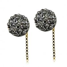 Luxury - Cercei Argint Placat cu Aur, Perle si Cristale Swarovski, BijouxMAG