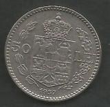 ROMANIA  CAROL II   50  LEI  1937  [2]   XF ,  livrare in cartonas, Nichel