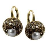 Rachel - Cercei Argint Placat cu Aur, Perle si Cristale Swarovski, BijouxMAG