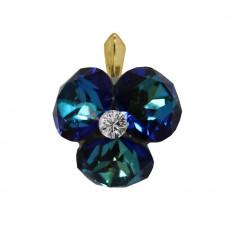 Octavia - Pandantiv Argint Placat cu Aur si Cristale Swarovski - Bermuda Blue, BijouxMAG