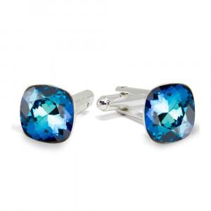 Victoria - Butoni Argint si Cristale Swarovski - Bermuda Blue, BijouxMAG
