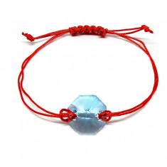 Lili - Bratara Snur si Cristale Swarovski Reglabila - Aquamarine, BijouxMAG