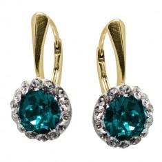 Ariana - Cercei Argint Placat cu Aur si Cristale Swarovski - Blue Zircon, BijouxMAG
