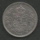 ROMANIA  CAROL II   50  LEI  1937  [1]   XF+ ,  livrare in cartonas, Nichel