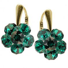 Clover - Cercei Argint Placat cu Aur si Cristale Swarovski - Emerald, BijouxMAG