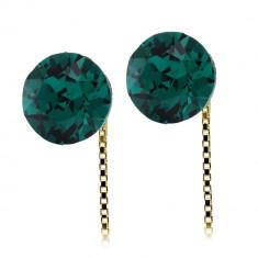 Infinity - Cercei Argint Placat cu Aur si Cristale Swarovski - Emerald, BijouxMAG