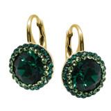 Luxe - Cercei Argint Placat cu Aur si Cristale Swarovski - Emerald , BijouxMAG