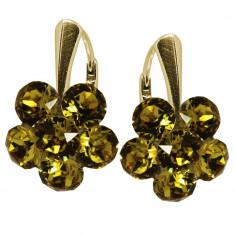 Pauline - Cercei Argint Placat cu Aur si Cristale Swarovski - Light Topaz, BijouxMAG
