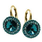 Aldora - Cercei Argint Placat cu Aur si Cristale Swarovski - Blue Zircon