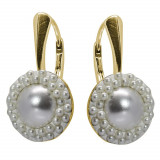 Amy - Cercei Argint Placat cu Aur si Perle Swarovski , BijouxMAG