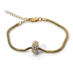 Bratara Tip Pandora din Argint Placat cu Aur cu Talisman Swarovski, BijouxMAG