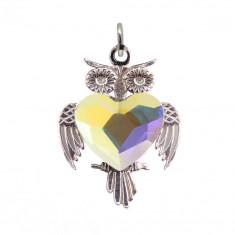 Sedona - Pandantiv Bufnita Argint si Cristale Swarovski - Aurore Boreale, BijouxMAG