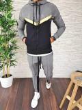 Trening barbati GRI cu auriu - PREMIUM - Bluza + Pantaloni - A2714, M, XL, Din imagine, Nocciola